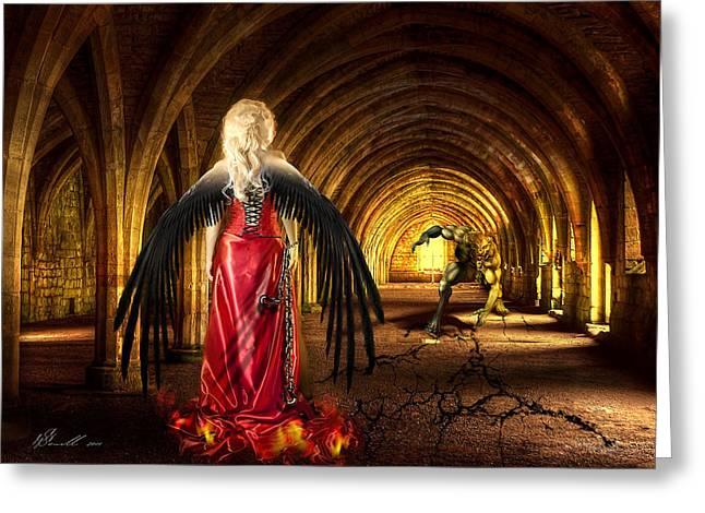 Long Dress Mixed Media Greeting Cards - Dark Angel Greeting Card by Svetlana Sewell