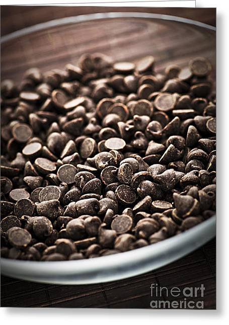 Chunk Greeting Cards - Dark chocolate chips Greeting Card by Elena Elisseeva