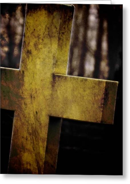 Headstones Greeting Cards - Dark Cross Greeting Card by Odd Jeppesen