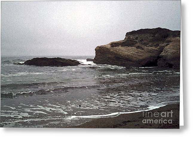 California Beach Art Digital Art Greeting Cards - Dark Day At The Beach Greeting Card by Methune Hively
