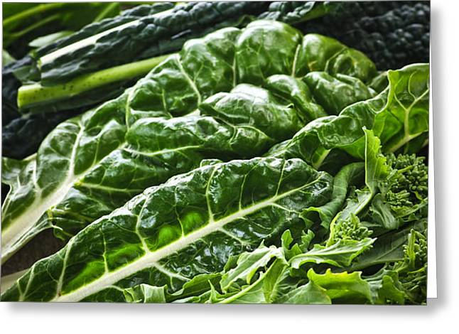 Dark green leafy vegetables Greeting Card by Elena Elisseeva