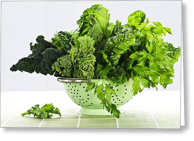 Broccoli Photographs Greeting Cards - Dark green leafy vegetables in colander Greeting Card by Elena Elisseeva