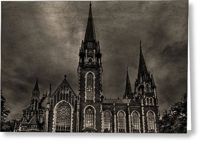 Steeples Greeting Cards - Dark Kingdom Greeting Card by Evelina Kremsdorf