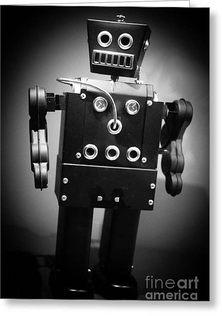 Dark Metal Robot Greeting Card by Edward Fielding