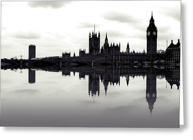 City Of London Greeting Cards - Dark Reflections Greeting Card by Sharon Lisa Clarke