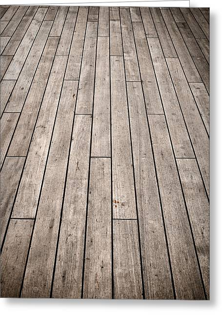 Wood Plank Flooring Greeting Cards - Dark Ship Deck used for Background Greeting Card by Brandon Bourdages