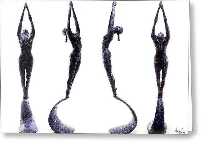 Figure Based Mixed Media Greeting Cards - Dark Violet Matter composite of several views Greeting Card by Adam Long