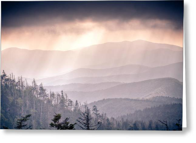 Great Smokey Mountains Greeting Cards - Dark Vista Over The Smokys Greeting Card by Pixel Perfect by Michael Moore