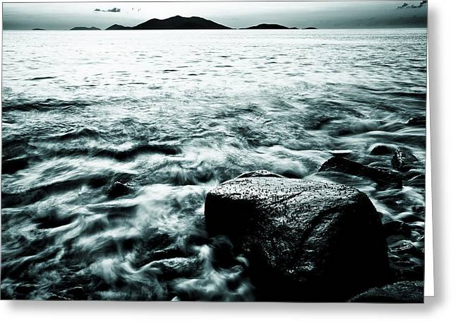 Soft And Subtle Greeting Cards - Dark waves swirling around a rock in the Caribbean in black and white Greeting Card by Anya Brewley schultheiss