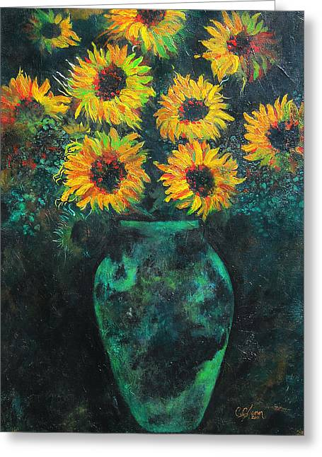 Carrie Jackson Studios Greeting Cards - Darkened Sun Greeting Card by Carrie Jackson