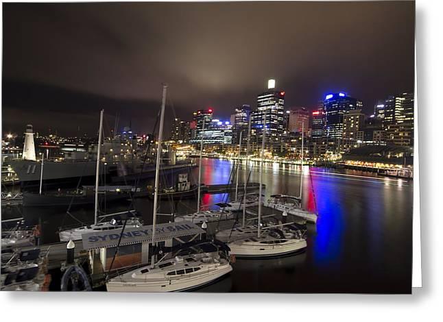 Darling Photographs Greeting Cards - Darling Harbor Sydney Skyline 2 Greeting Card by Douglas Barnard