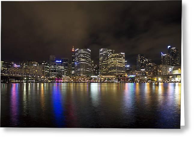 Darling Photographs Greeting Cards - Darling Harbor Sydney Skyline Greeting Card by Douglas Barnard