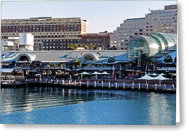 Darling Harbour Greeting Cards - Darling Harbour Panorama Greeting Card by Kaye Menner