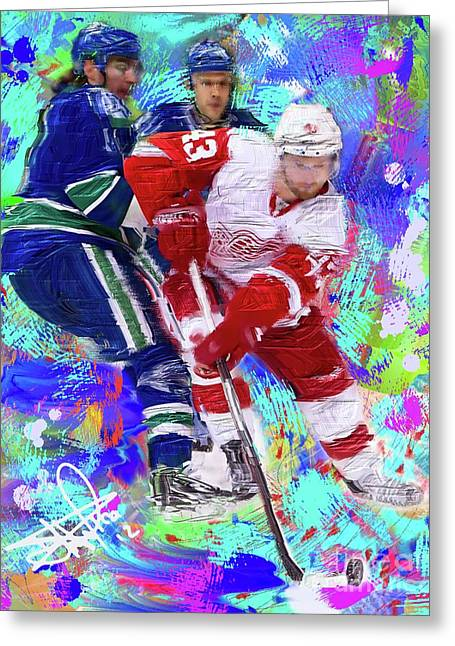 Hockey Paintings Greeting Cards - Darren Helm Greeting Card by Donald Pavlica