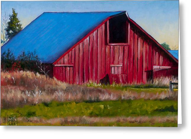 Landing Paintings Greeting Cards - Darst Barn on West Beach Road Greeting Card by Stacey Neumiller