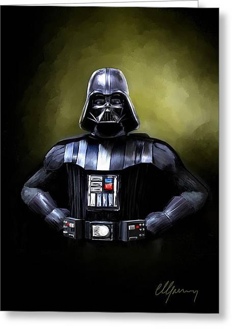 Movie Greeting Cards - Darth Vader Star Wars  Greeting Card by Michael Greenaway