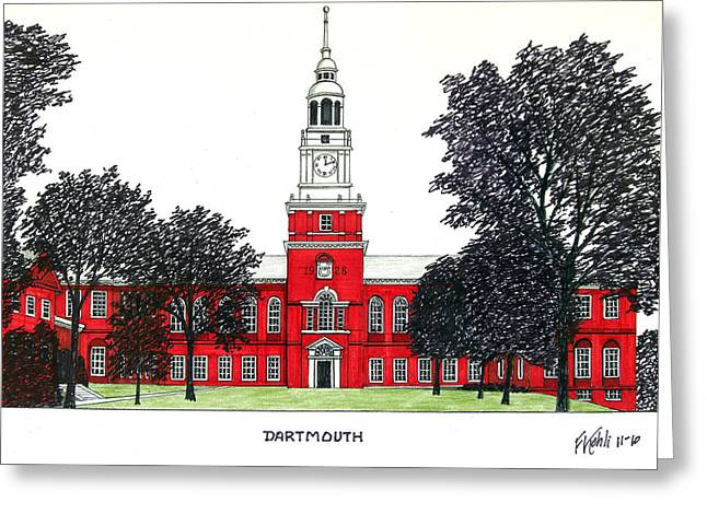 Pen And Ink Drawing Mixed Media Greeting Cards - Dartmouth Greeting Card by Frederic Kohli