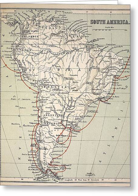 Beagle Artwork Greeting Cards - Darwins Beagle Voyage Map South America Greeting Card by Paul D Stewart