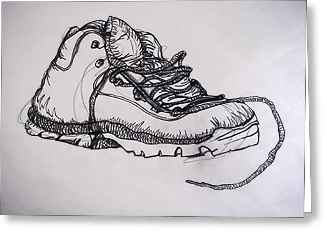 Boots Drawings Greeting Cards - Das Boot Greeting Card by Ross Powell