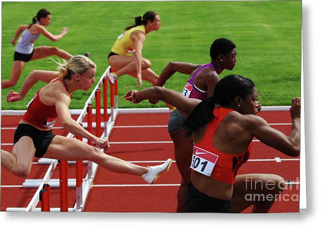 Hurdles Greeting Cards - Dash To The Finish Greeting Card by Bob Christopher