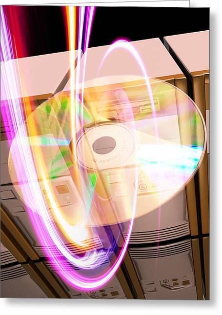 Abstract Digital Light Trails Greeting Cards - Data Storage Greeting Card by Victor Habbick Visions