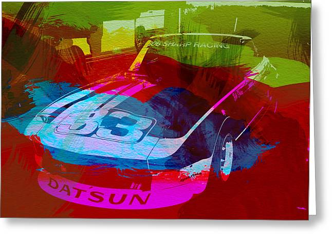 Cylinder Greeting Cards - Datsun Greeting Card by Naxart Studio