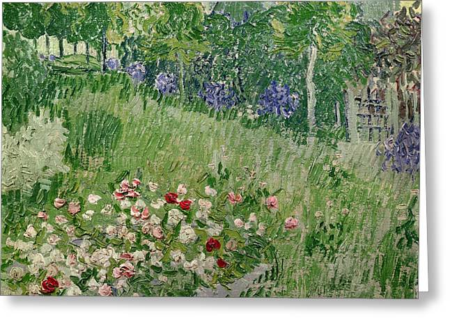 Post-impressionism Greeting Cards - Daubignys Garden Greeting Card by Vincent Van Gogh