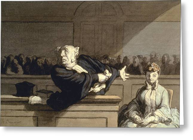 Advocate Greeting Cards - Daumier: Advocate, 1860 Greeting Card by Granger