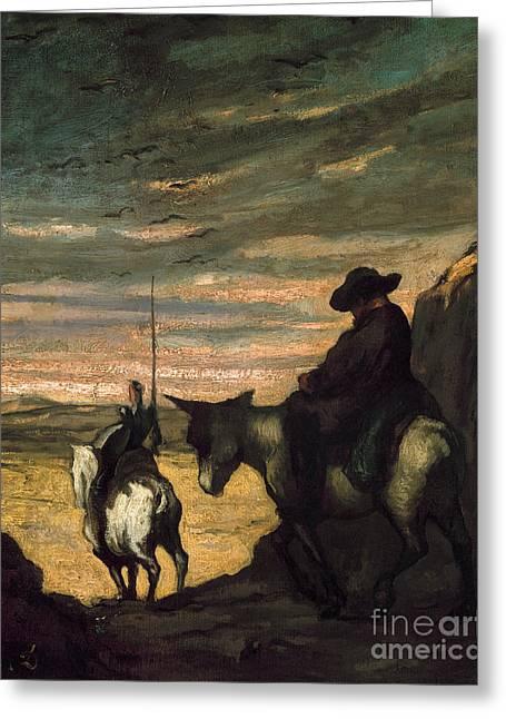 Sancho Panza Greeting Cards - Daumier: Quixote, 1866-68 Greeting Card by Granger