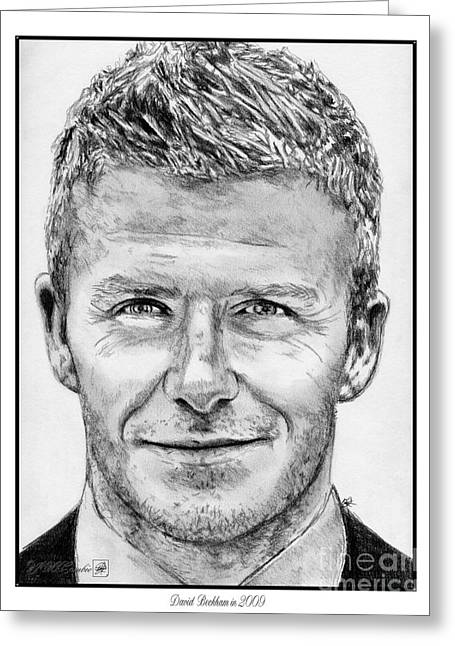 Real Madrid Drawings Greeting Cards - David Beckham in 2009 Greeting Card by J McCombie