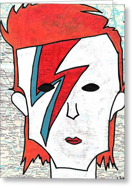80s Pop Music Greeting Cards - David Bowie Greeting Card by Jera Sky