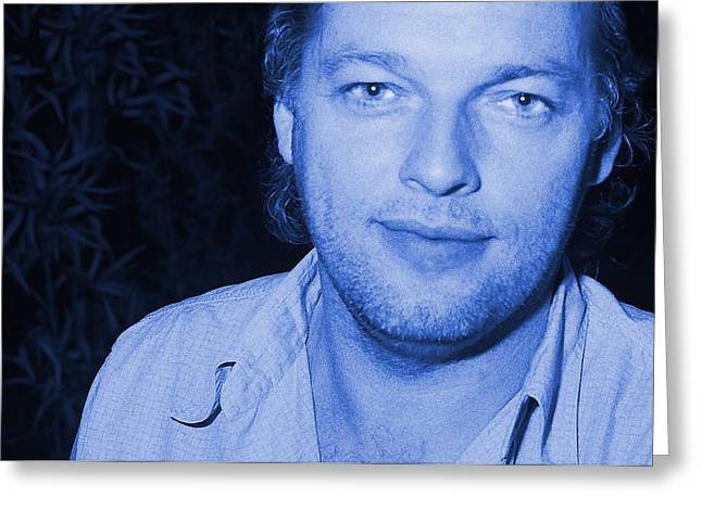 Jazz Greeting Cards - David Gilmour - Blue CloseUp Greeting Card by Philippe Taka