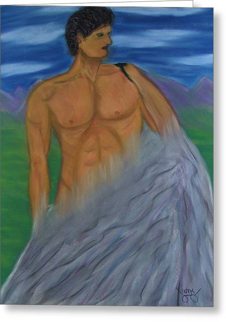 David Pastels Greeting Cards - David in making Greeting Card by M and L Creations