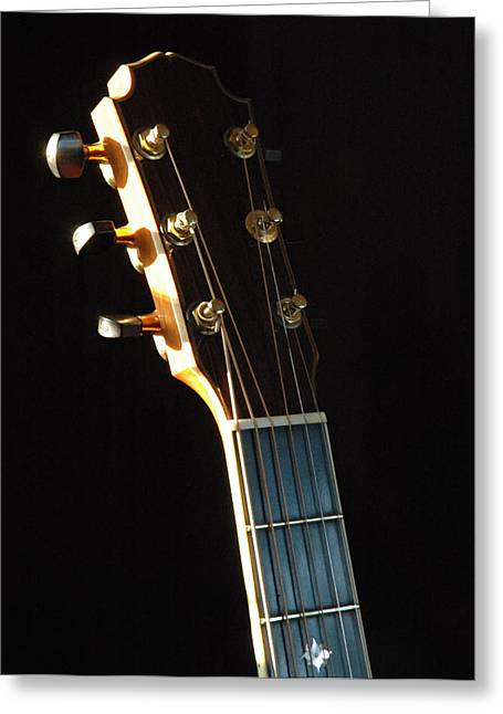 Mahogany Greeting Cards - David Wren Headstock 02 Greeting Card by Ross Powell