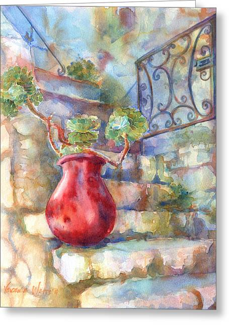 Watercolour Greeting Cards - Davids Europe 1 - Red French Pot Greeting Card by Yevgenia Watts