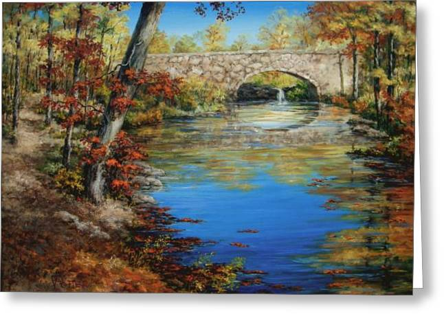 Arkansas Paintings Greeting Cards - Davies Bridge in November Greeting Card by Virginia Potter