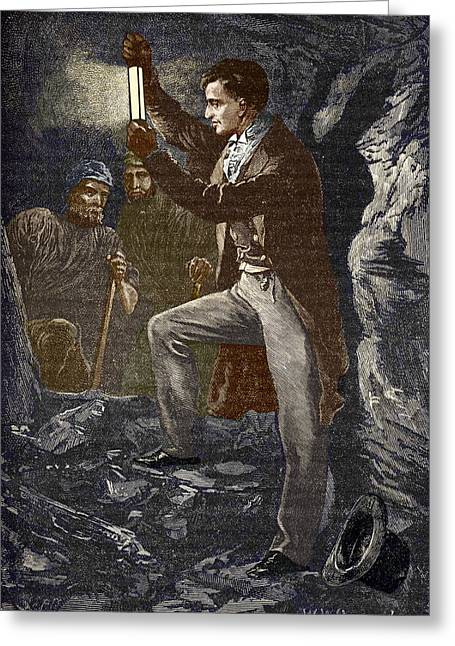 British Portraits Greeting Cards - Davy Testing His Mining Lamp Greeting Card by Sheila Terry