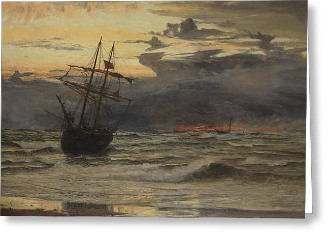 Sunset Seascape Paintings Greeting Cards - Dawn After the Storm Greeting Card by William Lionel Wyllie
