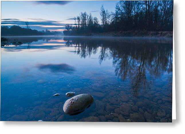 Dawn at river Greeting Card by Davorin Mance