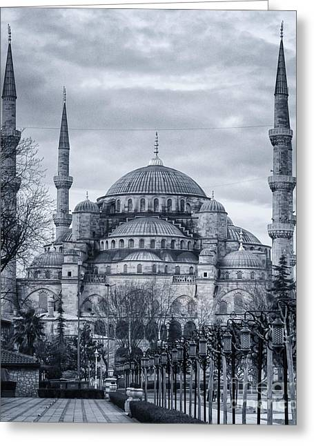 Church Synagogue Greeting Cards - Dawn at the Blue Mosque Greeting Card by Joan Carroll