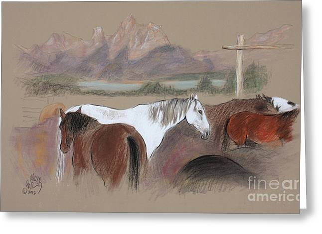 Snakes Pastels Greeting Cards - Dawn at Triangle X Corrals Jackson Hole Greeting Card by Paul Miller