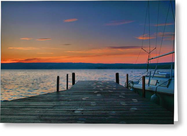 Docked Sailboat Greeting Cards - Dawn Breaking Greeting Card by Steven Ainsworth