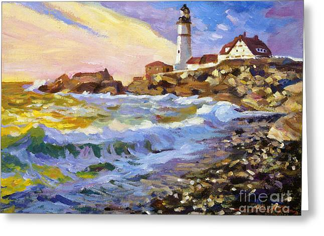 Blue Green Water Greeting Cards - Dawn Breaks Cape Elizabeth plein air Greeting Card by David Lloyd Glover