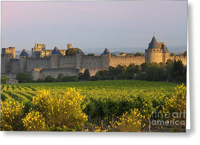 Carcassonne Greeting Cards - Dawn in Carcassonne Greeting Card by Brian Jannsen