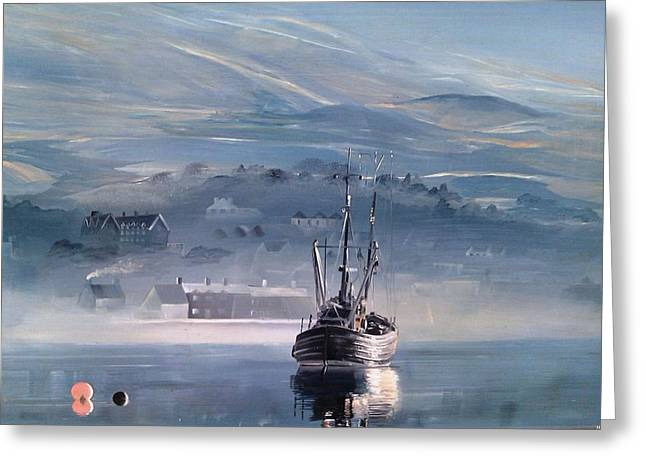 Seascape With A Boat Greeting Cards - Dawn Greeting Card by Ivan Rodger