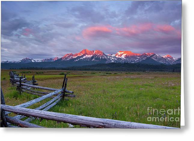 Landforms Greeting Cards - Dawn light on the Sawtooth Mountains Greeting Card by Keith Kapple