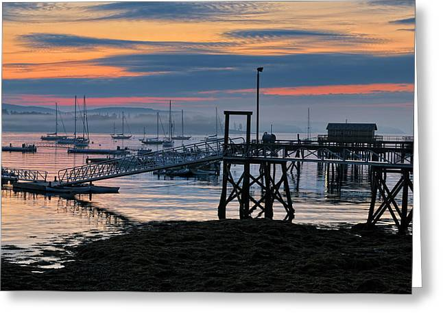 Somes Sound Greeting Cards - Dawn of A New Day - Maine Fishing Harbor Greeting Card by Thomas Schoeller
