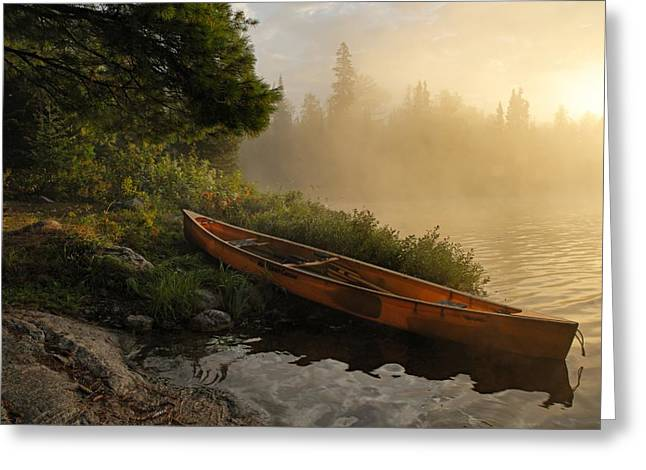 Canoe Greeting Cards - Dawn on Boot Lake Greeting Card by Larry Ricker