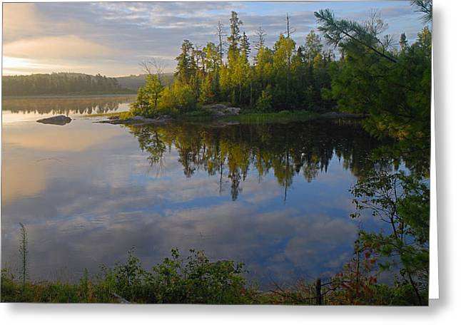 Boundary Waters Canoe Area Wilderness Greeting Cards - Dawn on the Basswood River Greeting Card by Larry Ricker