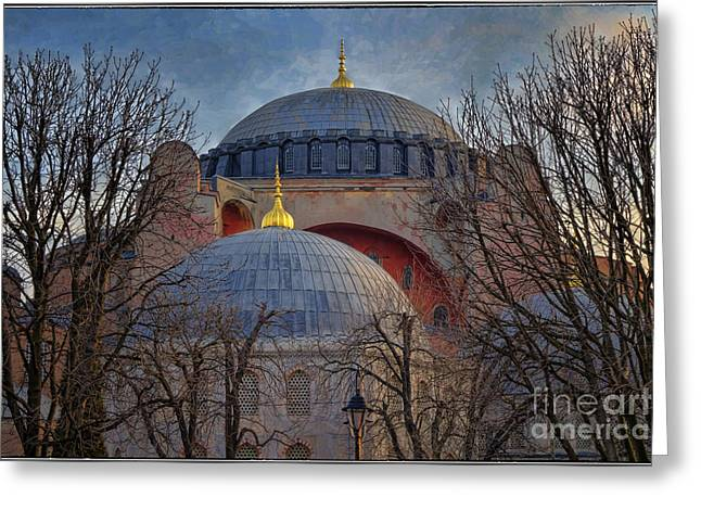 Religion Greeting Cards - Dawn over Hagia Sophia Greeting Card by Joan Carroll